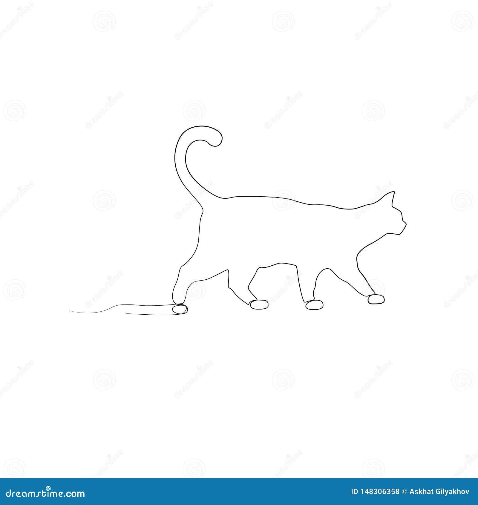 Fortlöpande en linje teckning som går katten Slapp fokus
