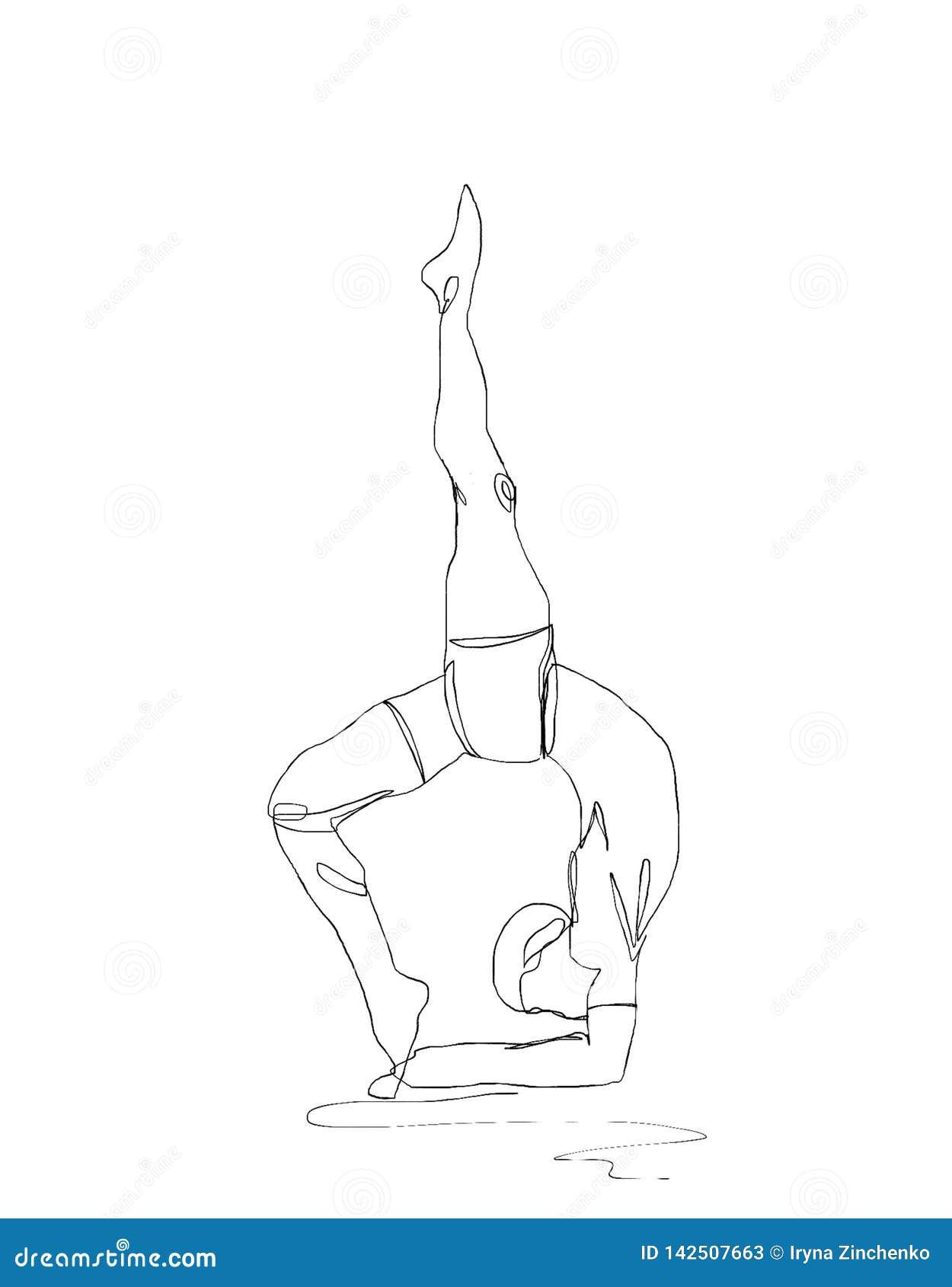 Fortlöpande linje färgpulverteckning Sportman som kopplas in i yoga på vit bakgrund llustration