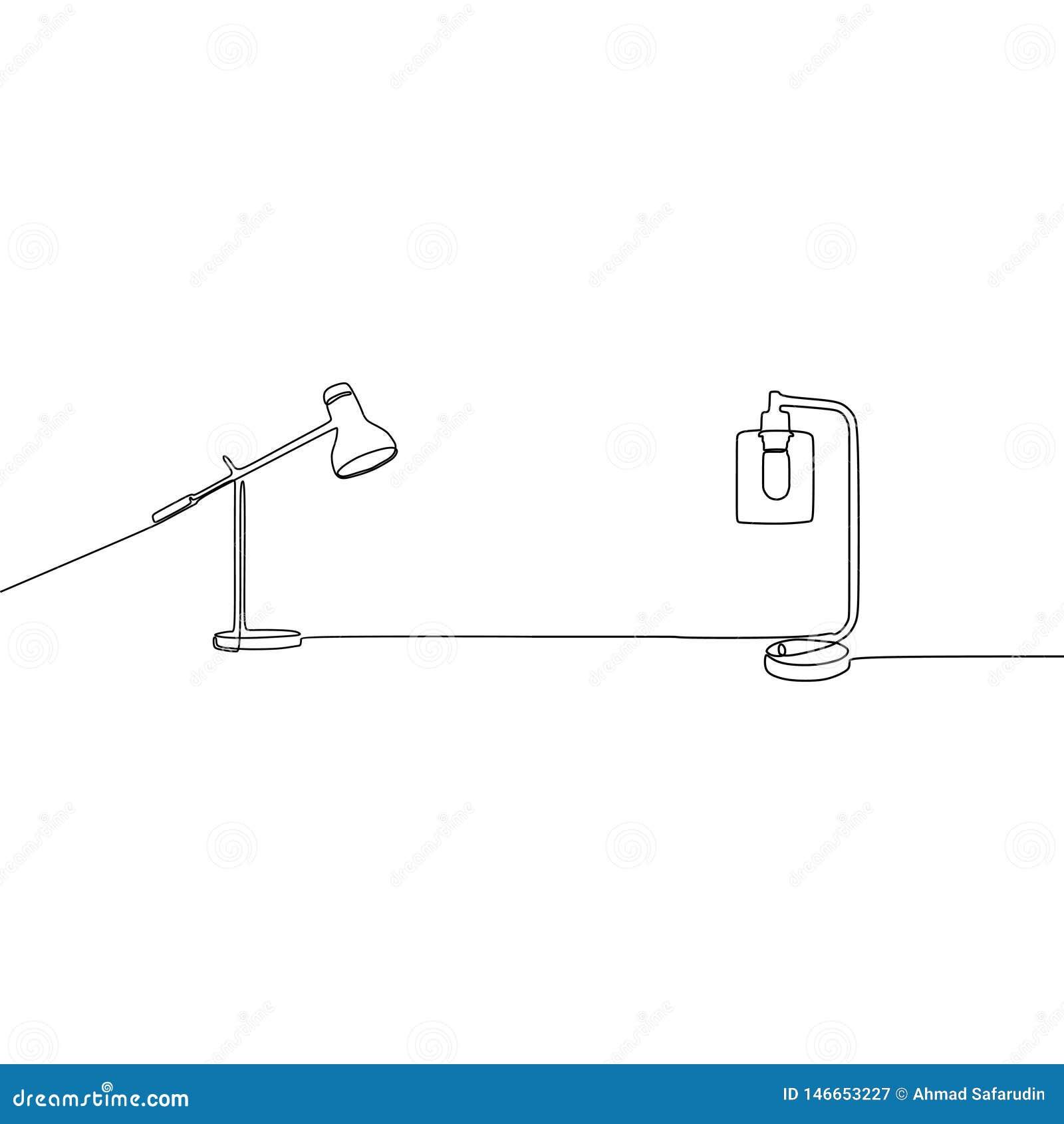 Fortlöpande linje lampvektor för skrivbordstearinljuslampa och för studentlampa ?versikten st?llde in av lampsymboler f?r reng?ri