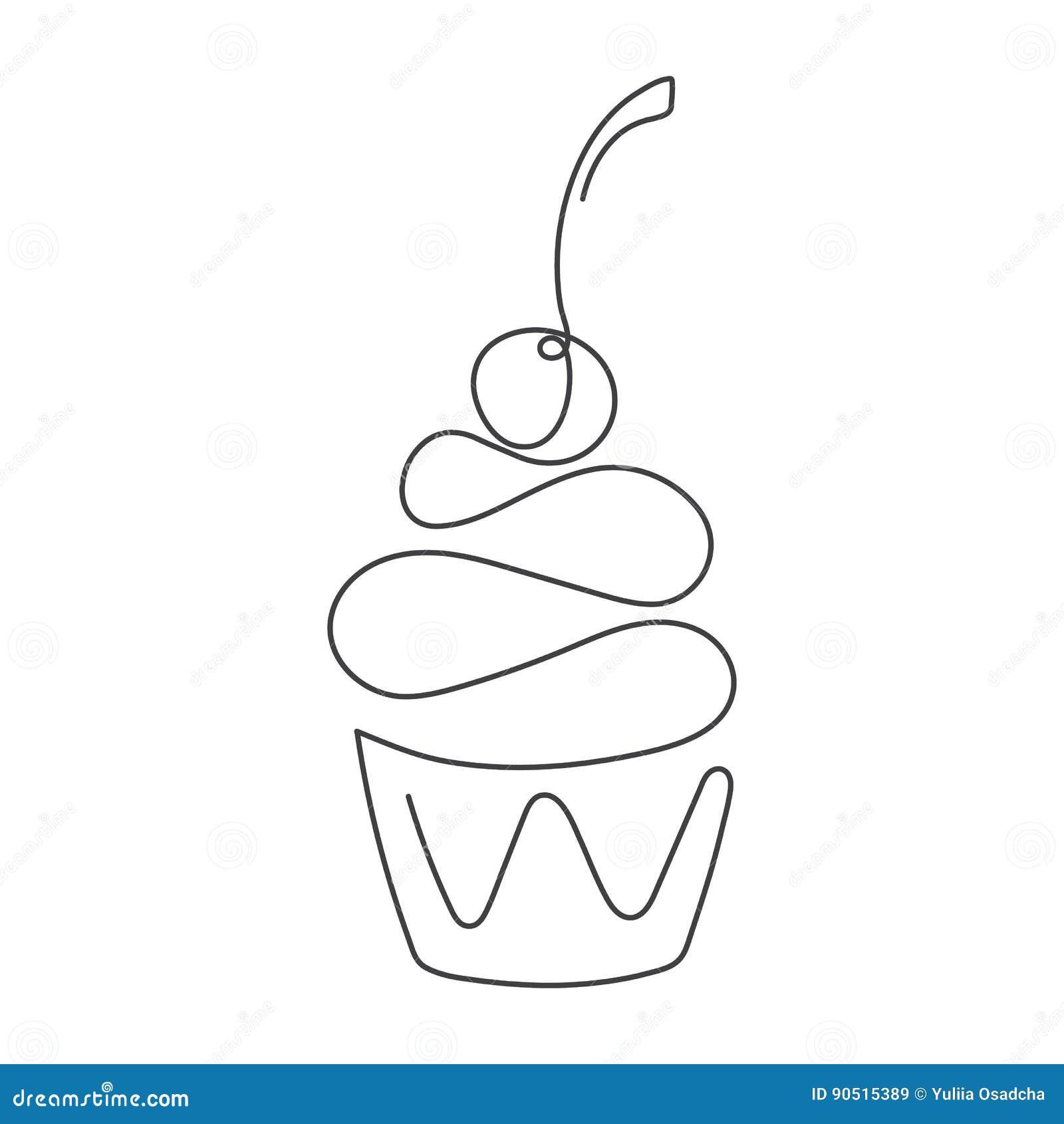 Fortlöpande linje muffin med körsbäret överst som isoleras på vit bakgrund också vektor för coreldrawillustration