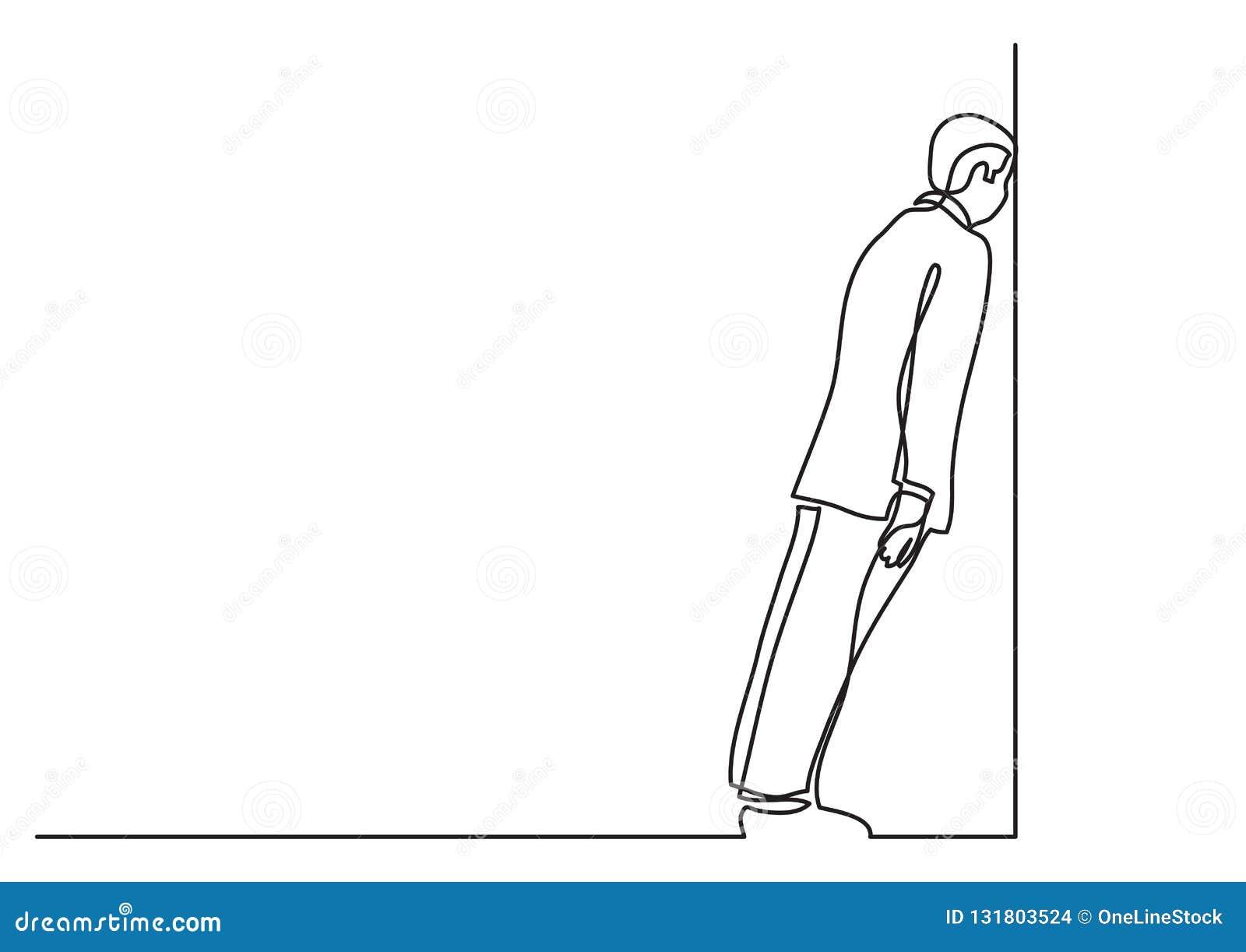 Fortlöpande linje teckning av affärsläget - man som klibbas i återvändsgrändjobb