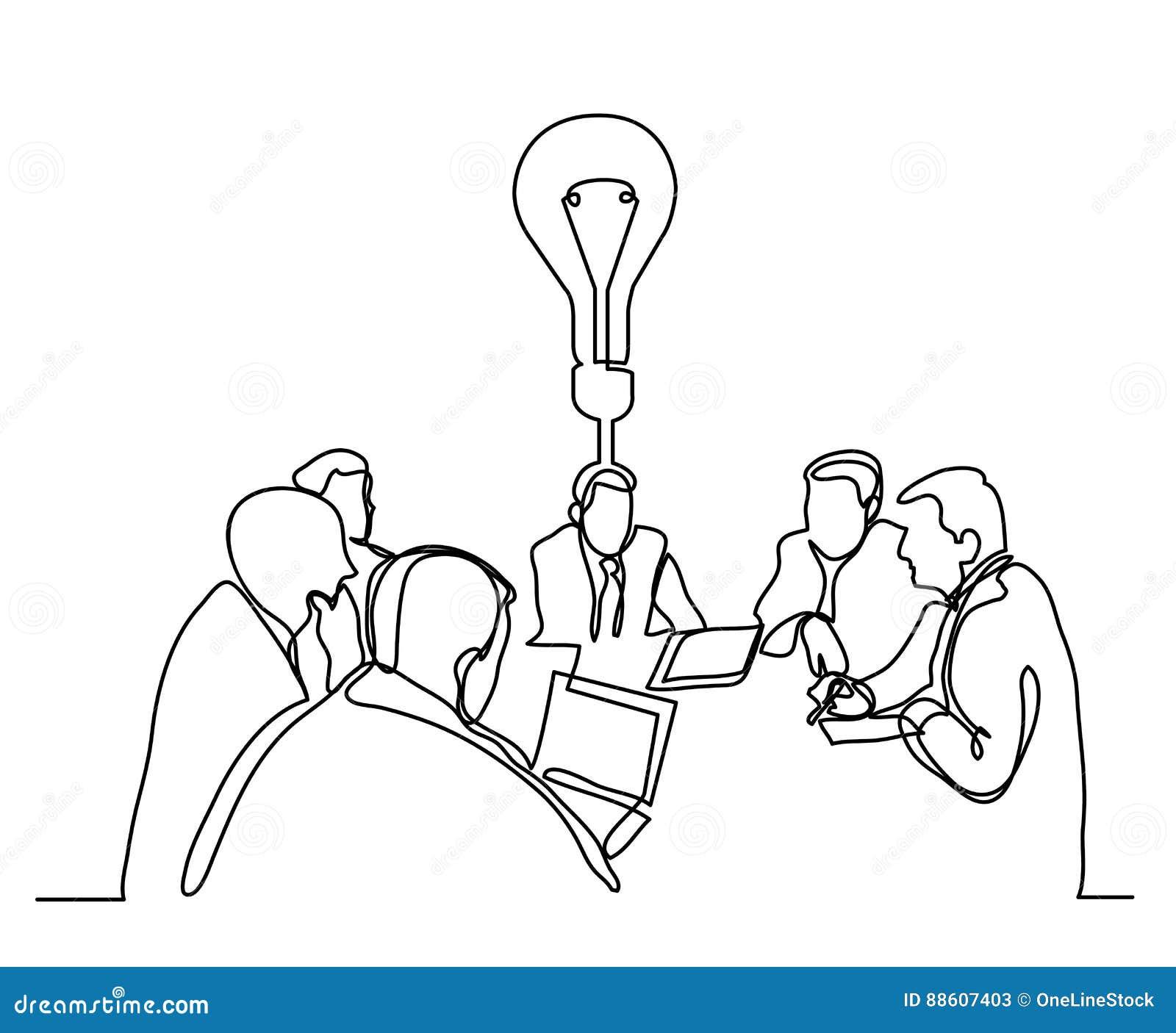 Fortlöpande linje teckning av affärsmötet med idé