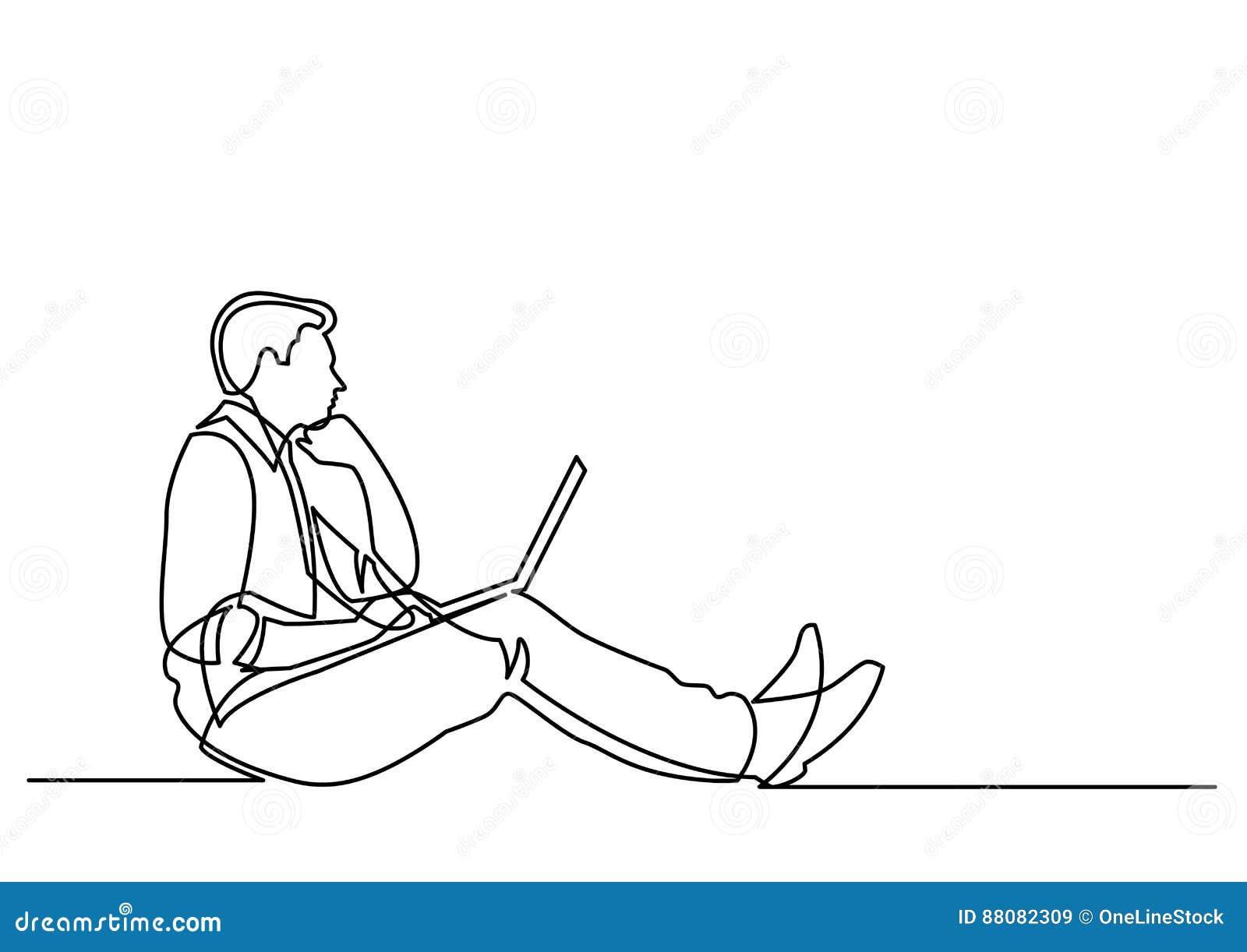 Fortlöpande linje teckning av affärsmansammanträde som tänker med varven