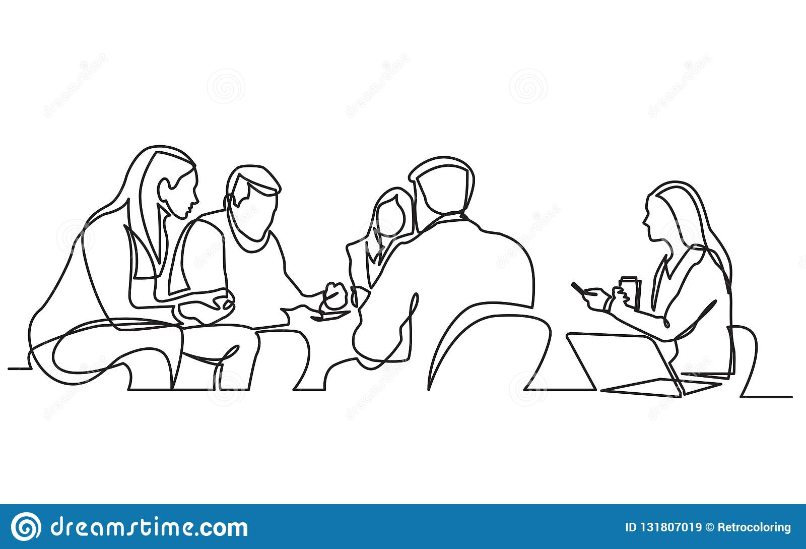 Fortlöpande linje teckning av arbetslaget som har möte