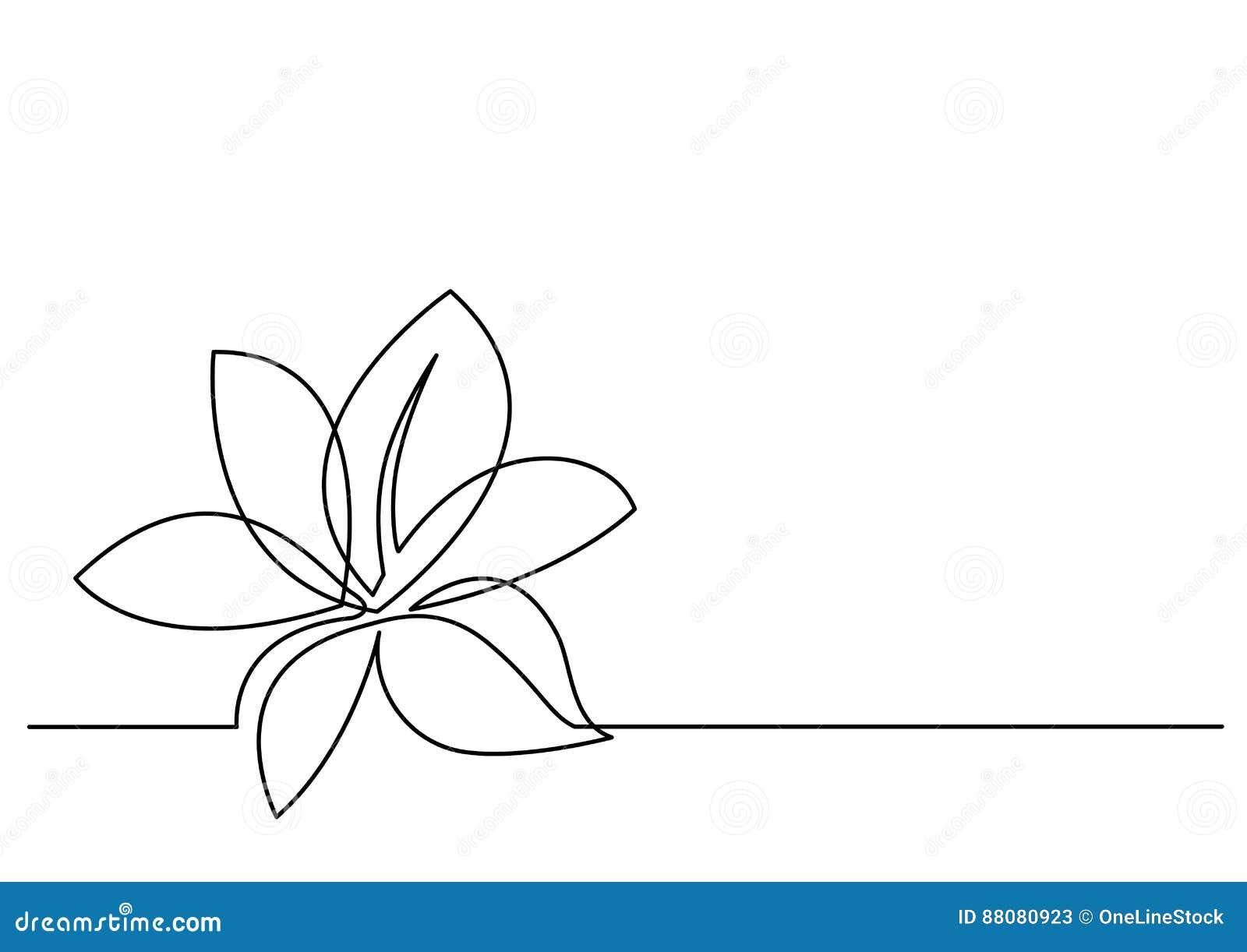 Fortlöpande linje teckning av blomman