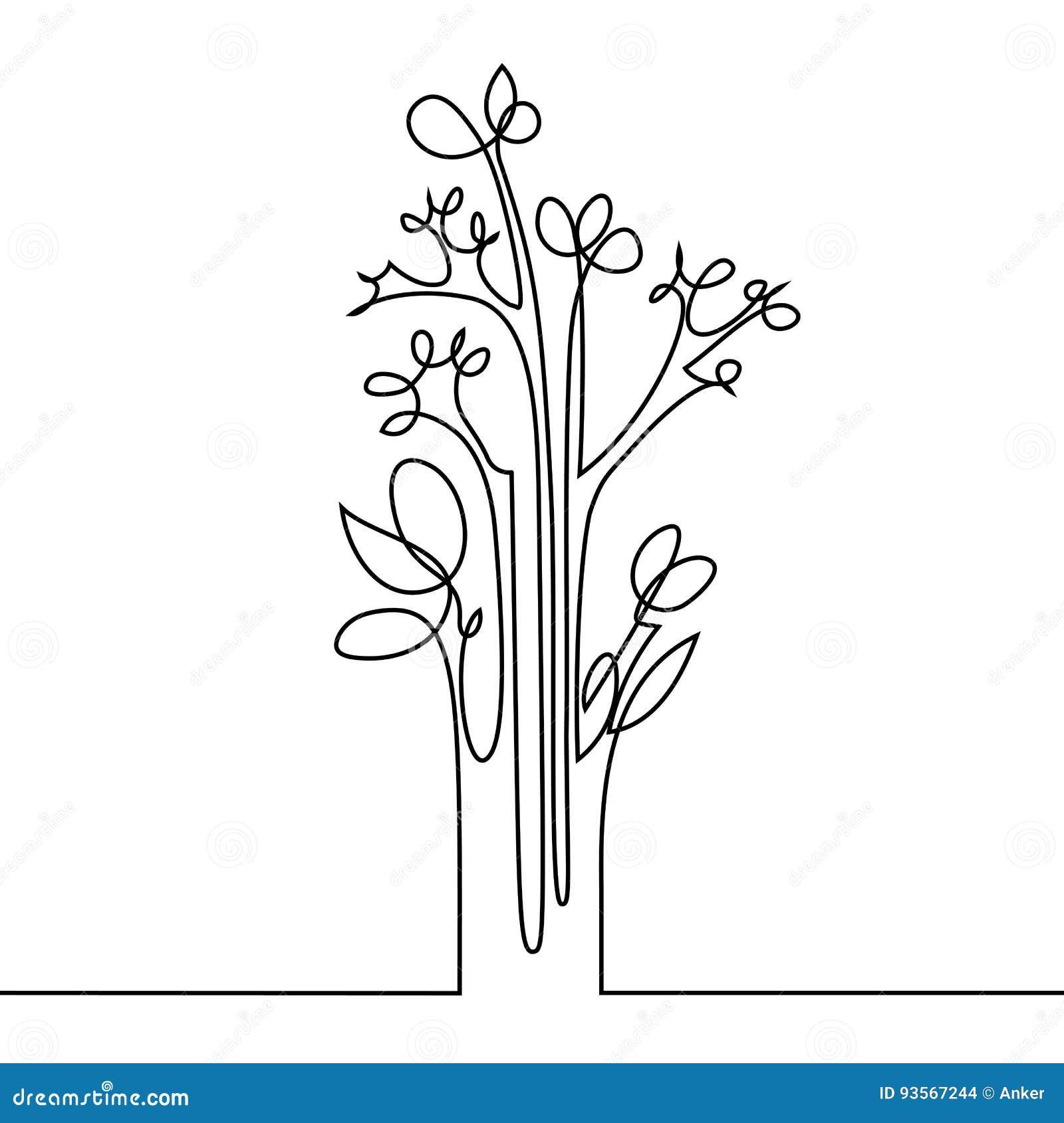 Fortlöpande linje teckning av blommor