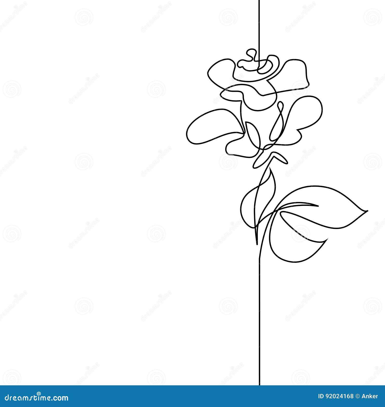 Fortlöpande linje teckning av den härliga blomman