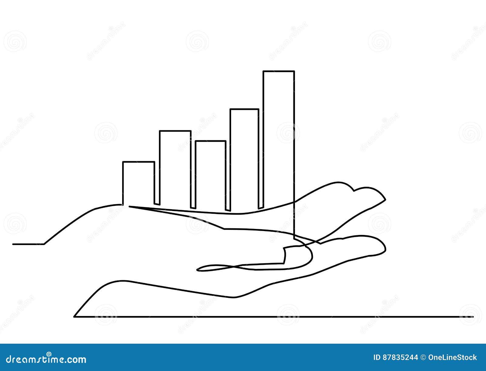 Fortlöpande linje teckning av diagrammet för handvisningtillväxt