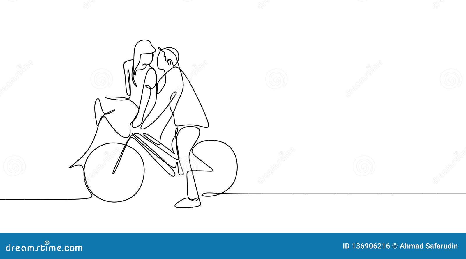 Fortlöpande linje teckning av för cykelvektor för gulliga romantiska par den förälskade rida illustrationen