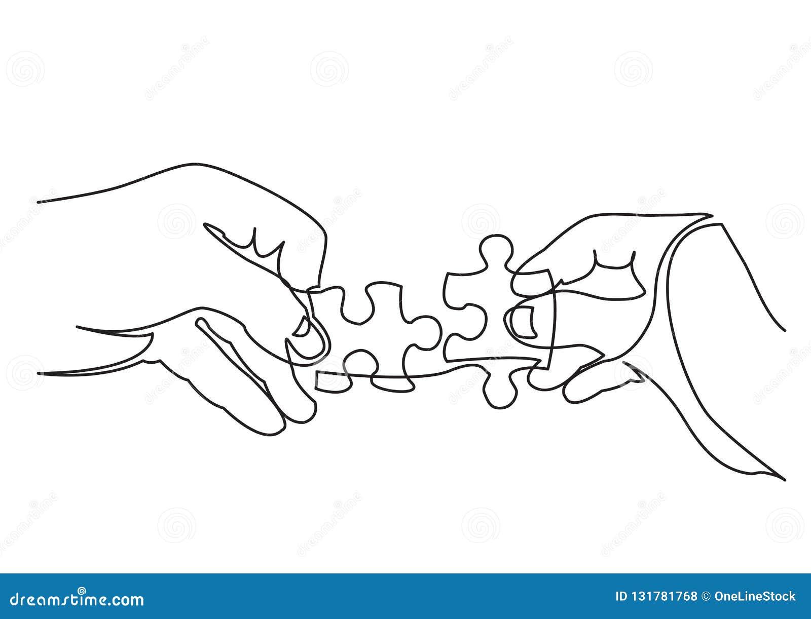 Fortlöpande linje teckning av händer som löser pusslet