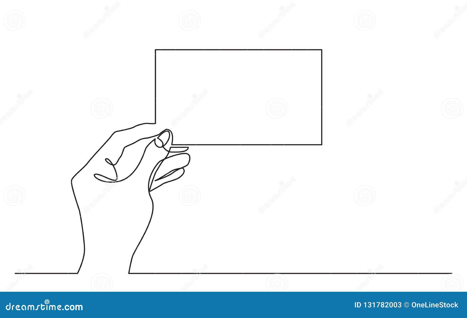 Fortlöpande linje teckning av handen som rymmer det tomma horisontalstycket av papper