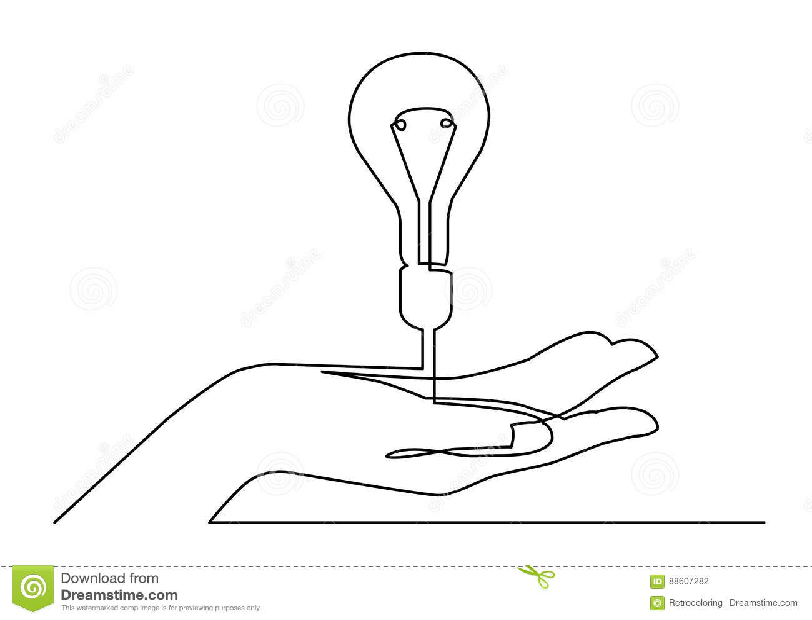 Fortlöpande linje teckning av handen som visar metap för ljus kula eller idé