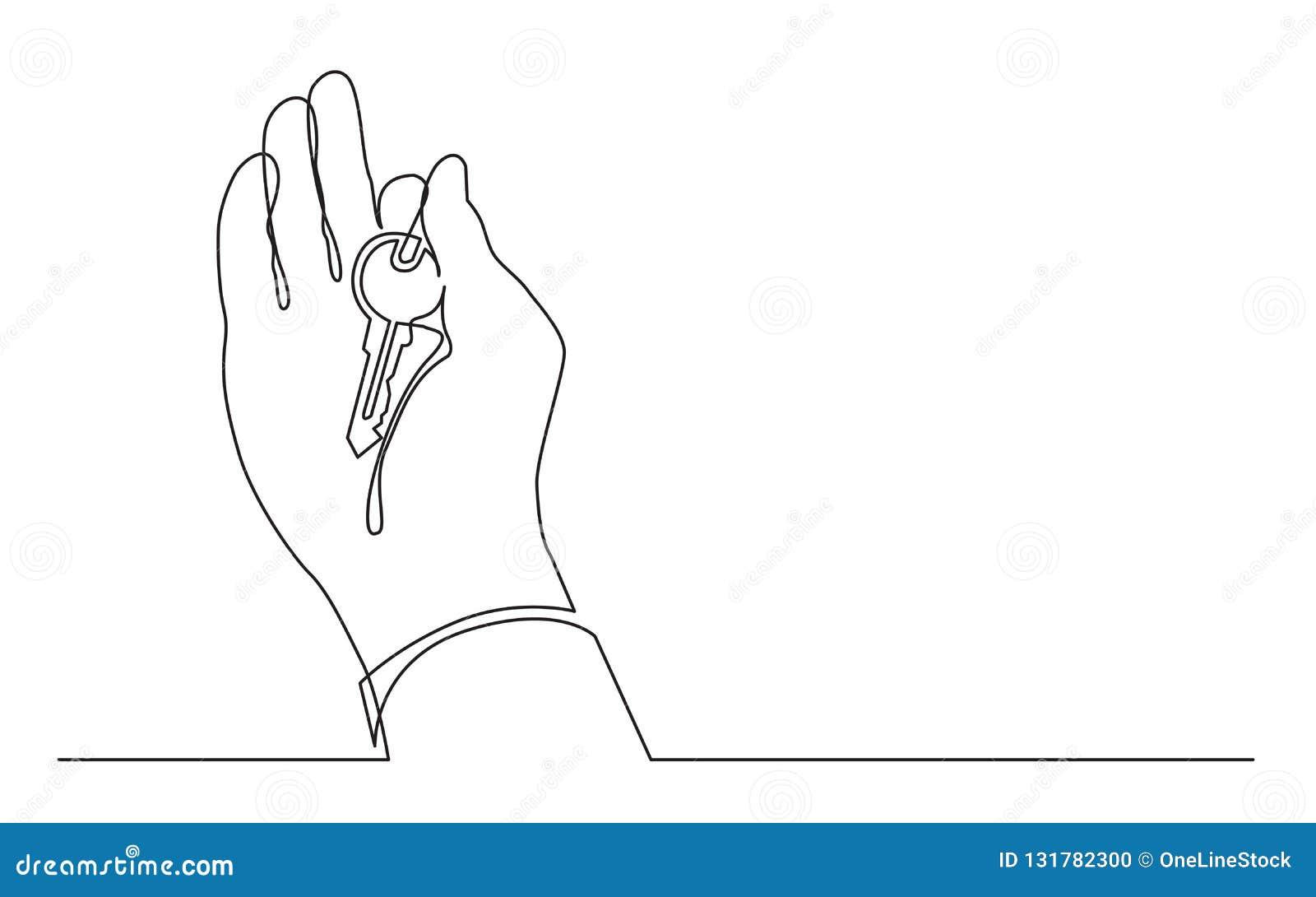 Fortlöpande linje teckning av handinnehavtangenten