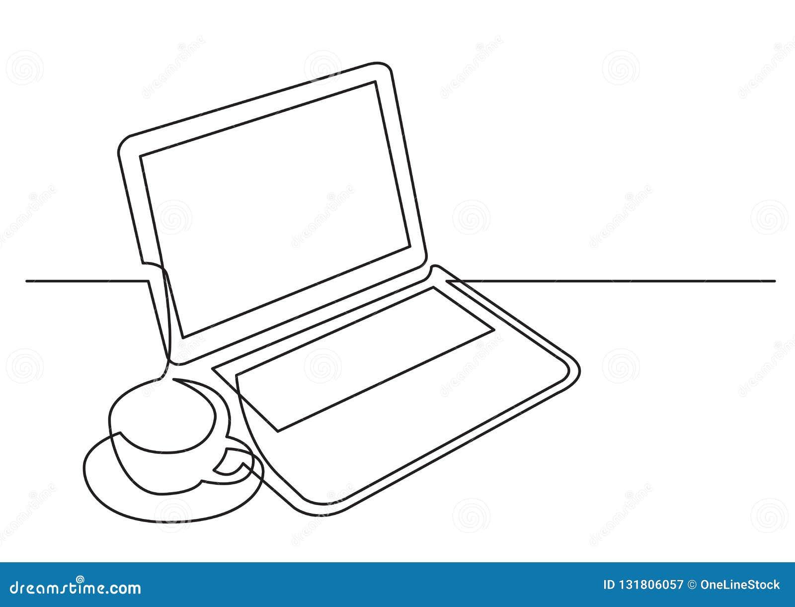 Fortlöpande linje teckning av kopp te för bärbar datordator