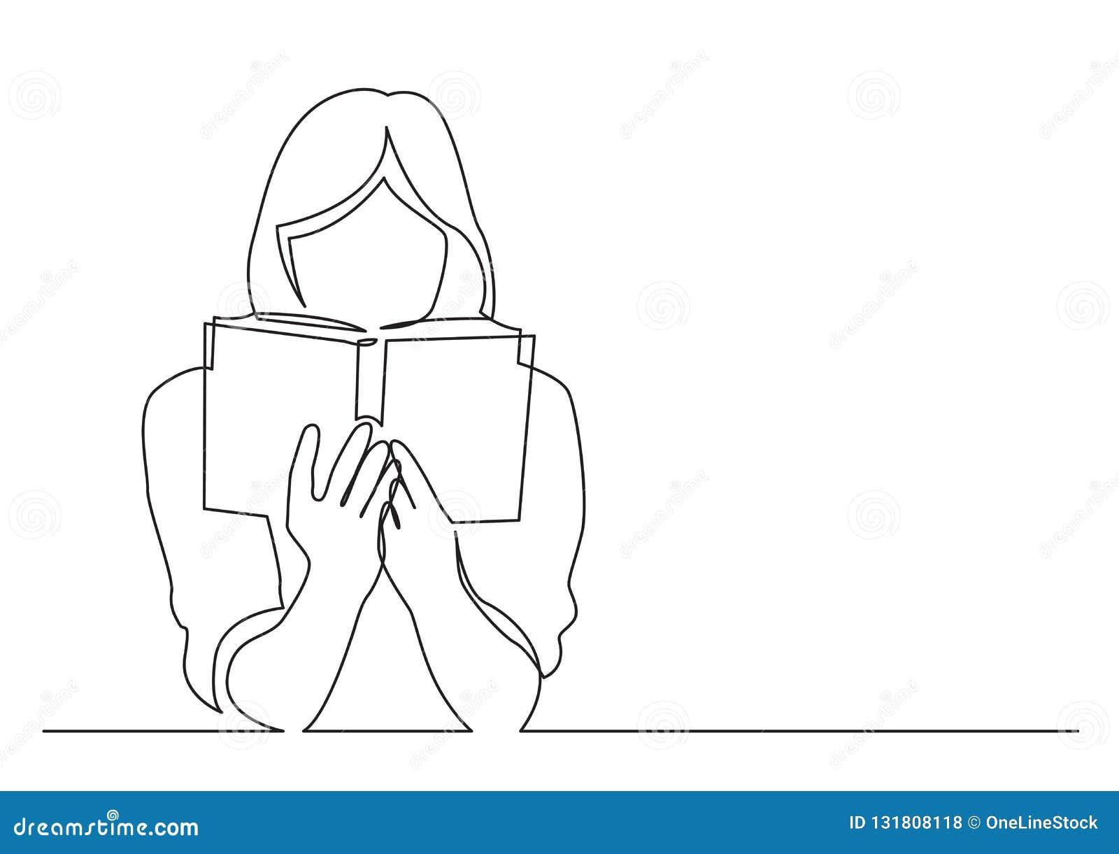 Fortlöpande linje teckning av kvinnan som fokuseras på att läsa den intressera boken