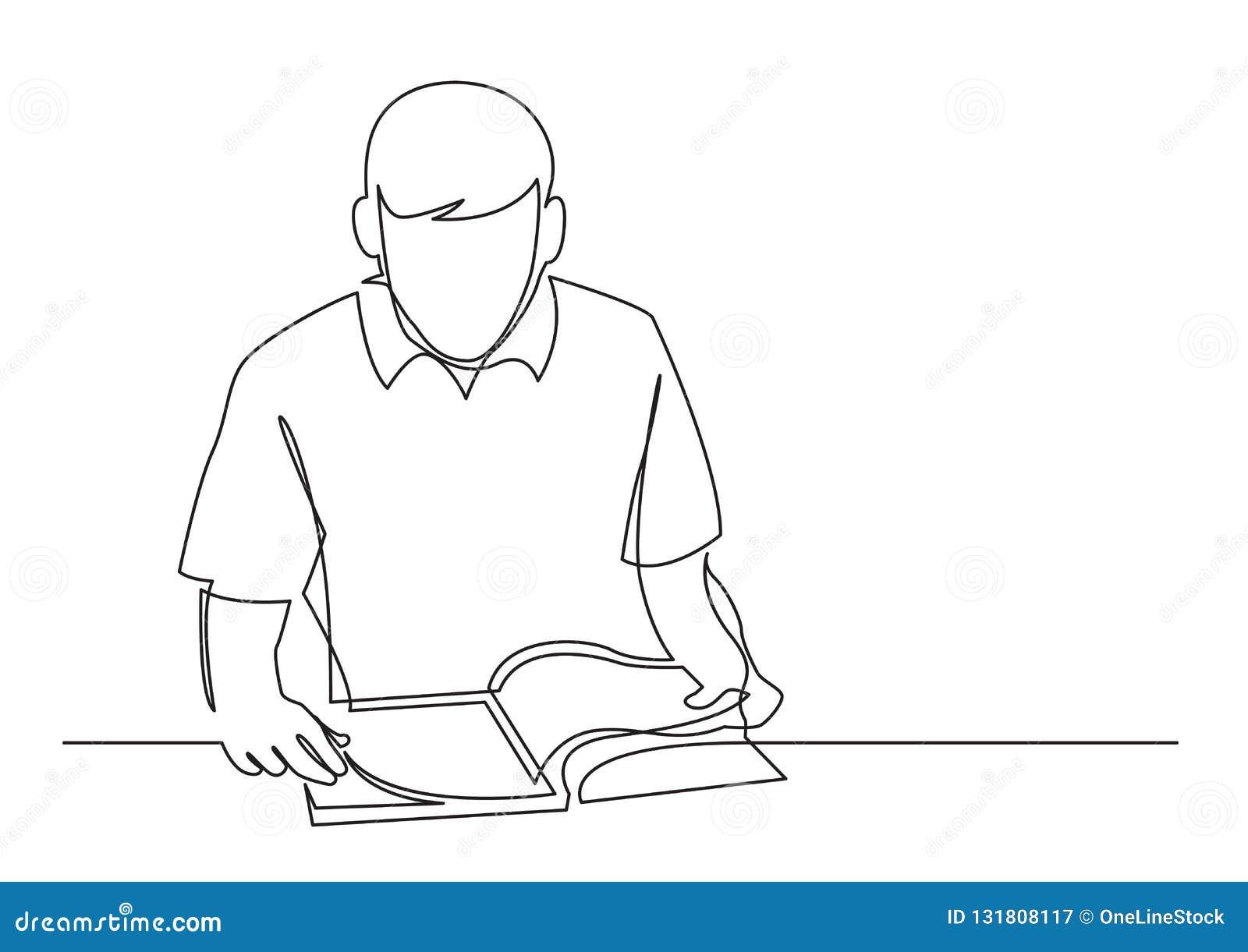 Fortlöpande linje teckning av läseboken för ung man
