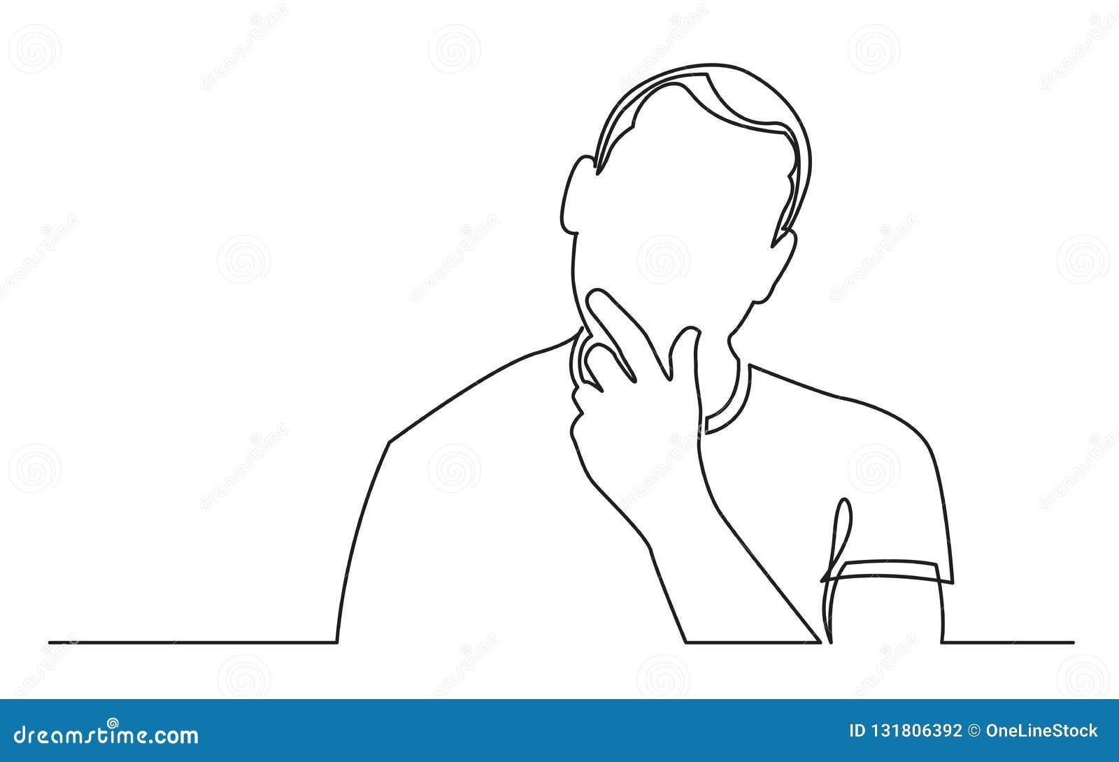 Fortlöpande linje teckning av mannen som analyserar tillfällen