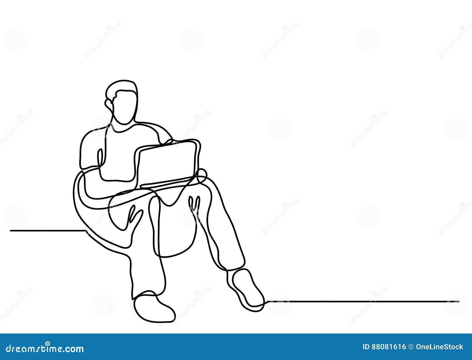 Fortlöpande linje teckning av mansammanträde i bönapåse med bärbar dator c