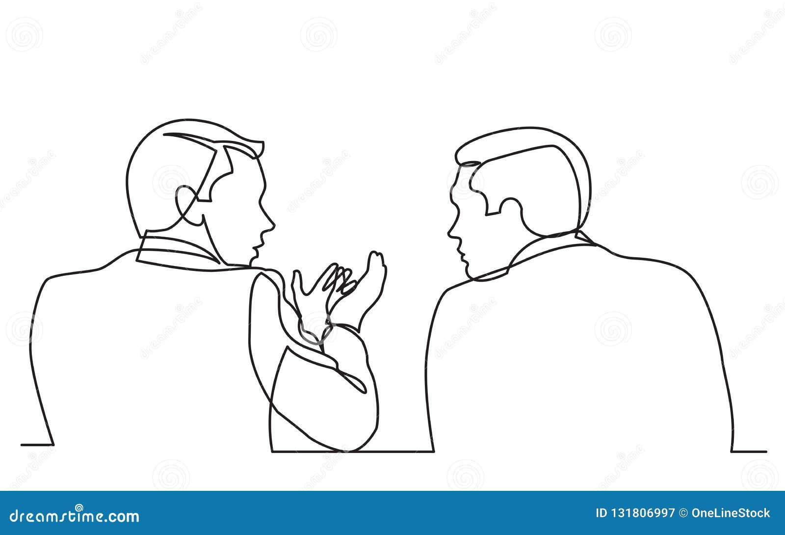 Fortlöpande linje teckning av samtal för två män