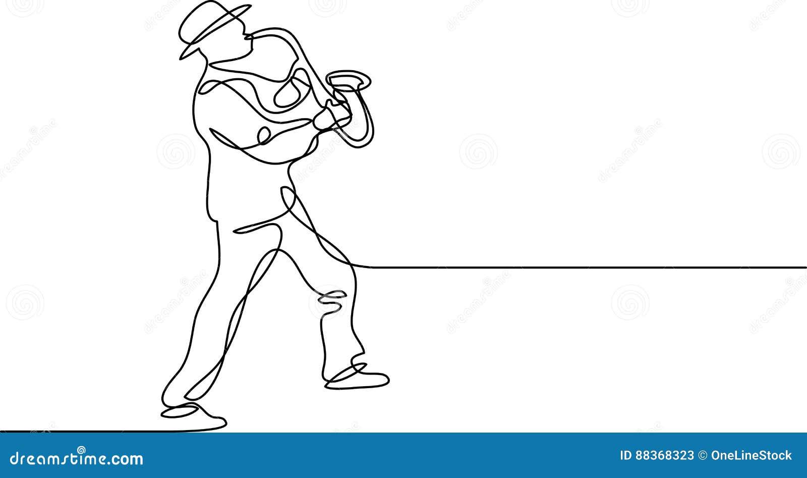 Fortlöpande linje teckning av saxofonspelaren
