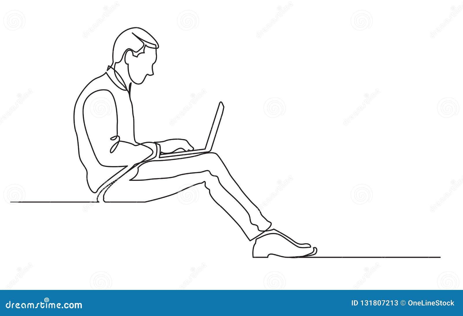Fortlöpande linje teckning av sittande arbete för kontorsarbetare på bärbar datordatoren