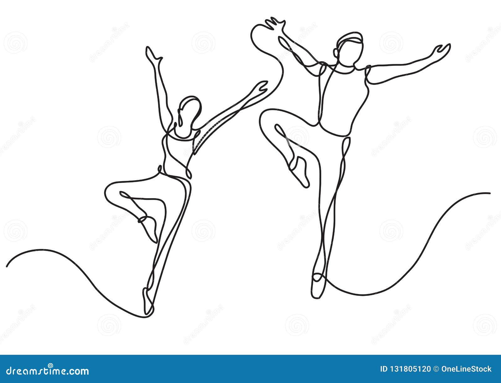 Fortlöpande linje teckning av två balettdansörer