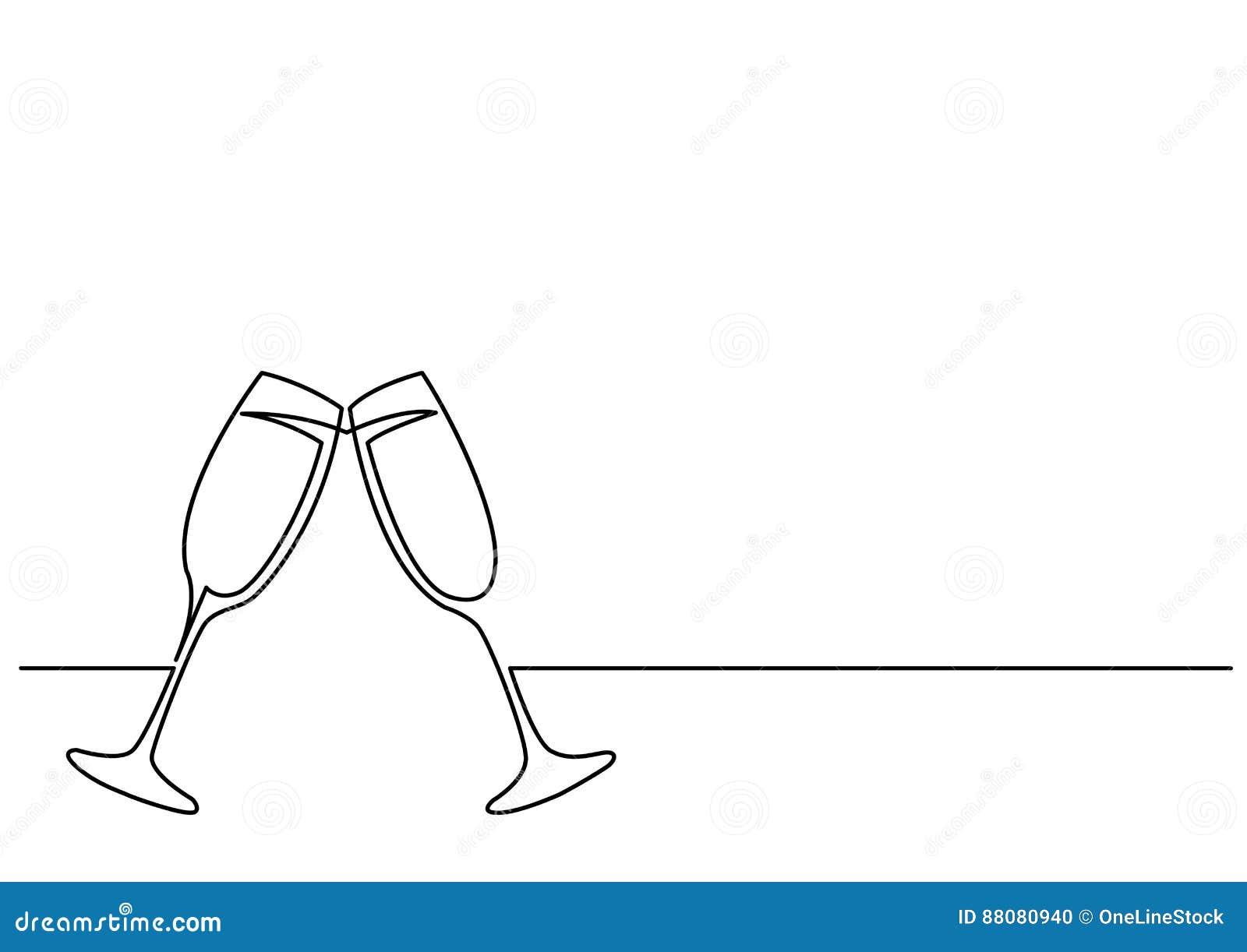 Fortlöpande linje teckning av två exponeringsglas av vin