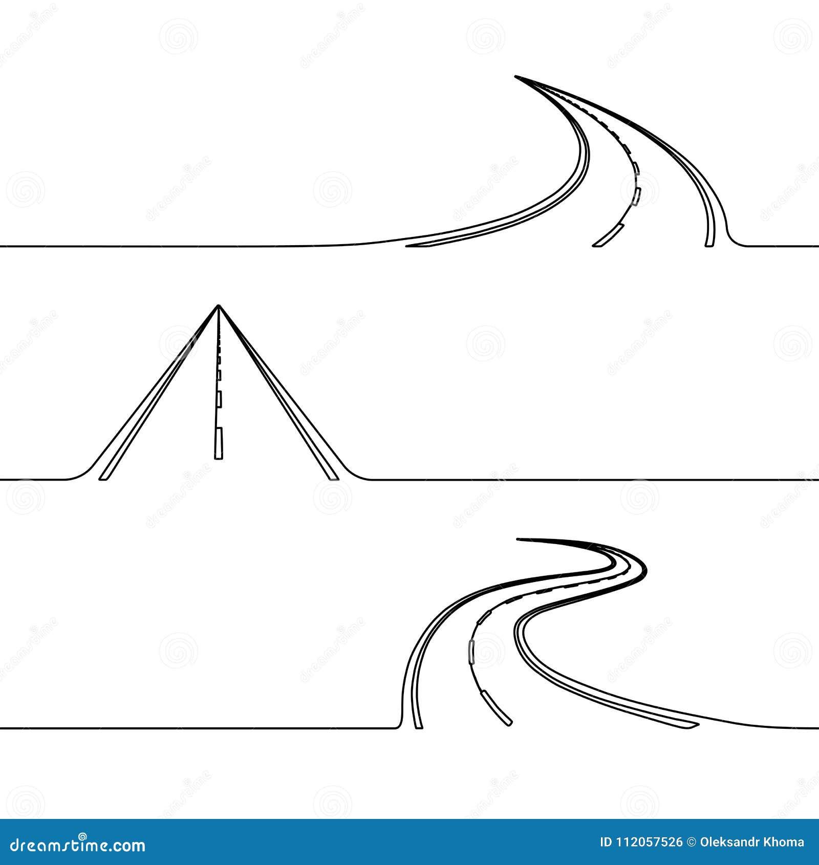 Fortlöpande linje teckning av vägen