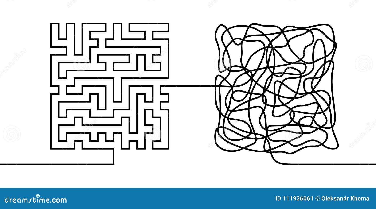 Fortlöpande linje teckning ett kaos- och beställningsbegrepp