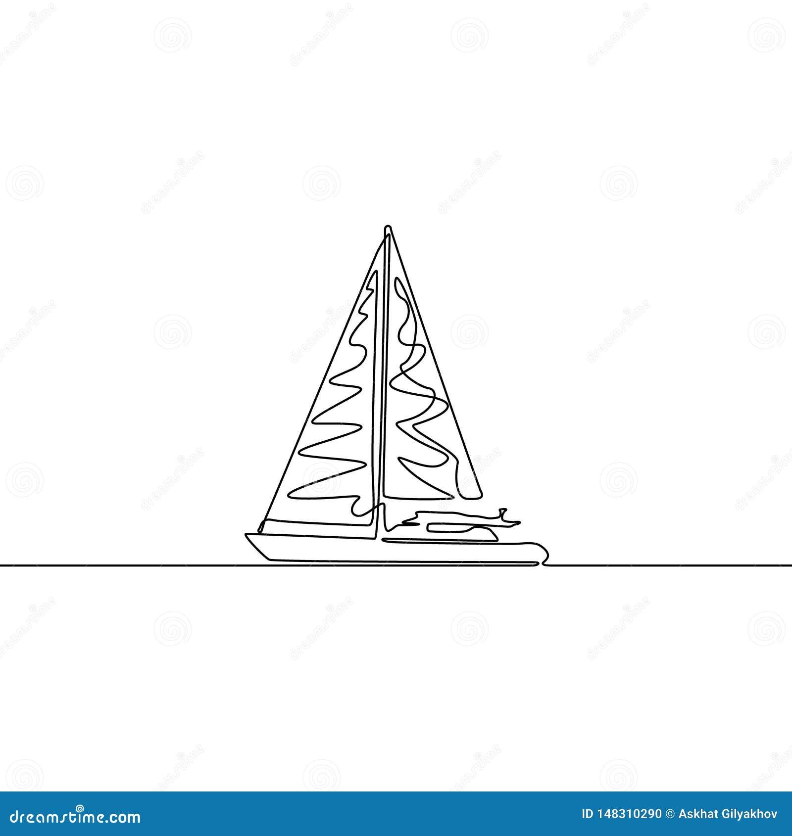 Fortlöpande linje teckning för yacht Enkel linje vektorskeppillustration fartyg