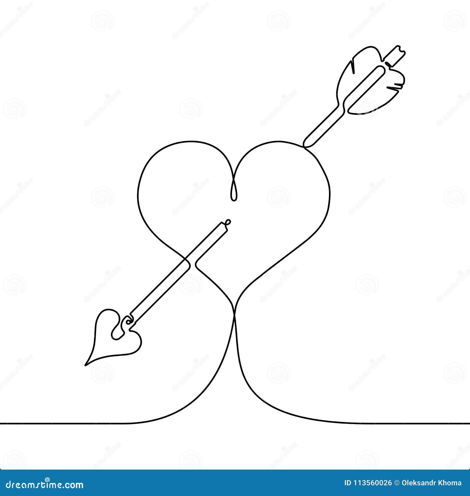 Fortlöpande linje teckningshjärta som trängas igenom av en pil