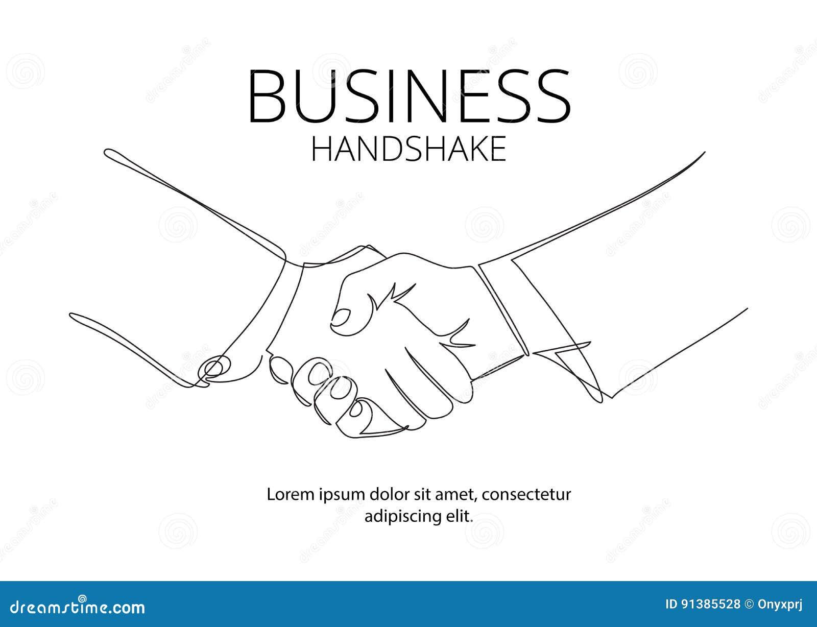 Fortlöpande linje vektorteckning för handskakning Begrepp för affärsöverenskommelsevektor