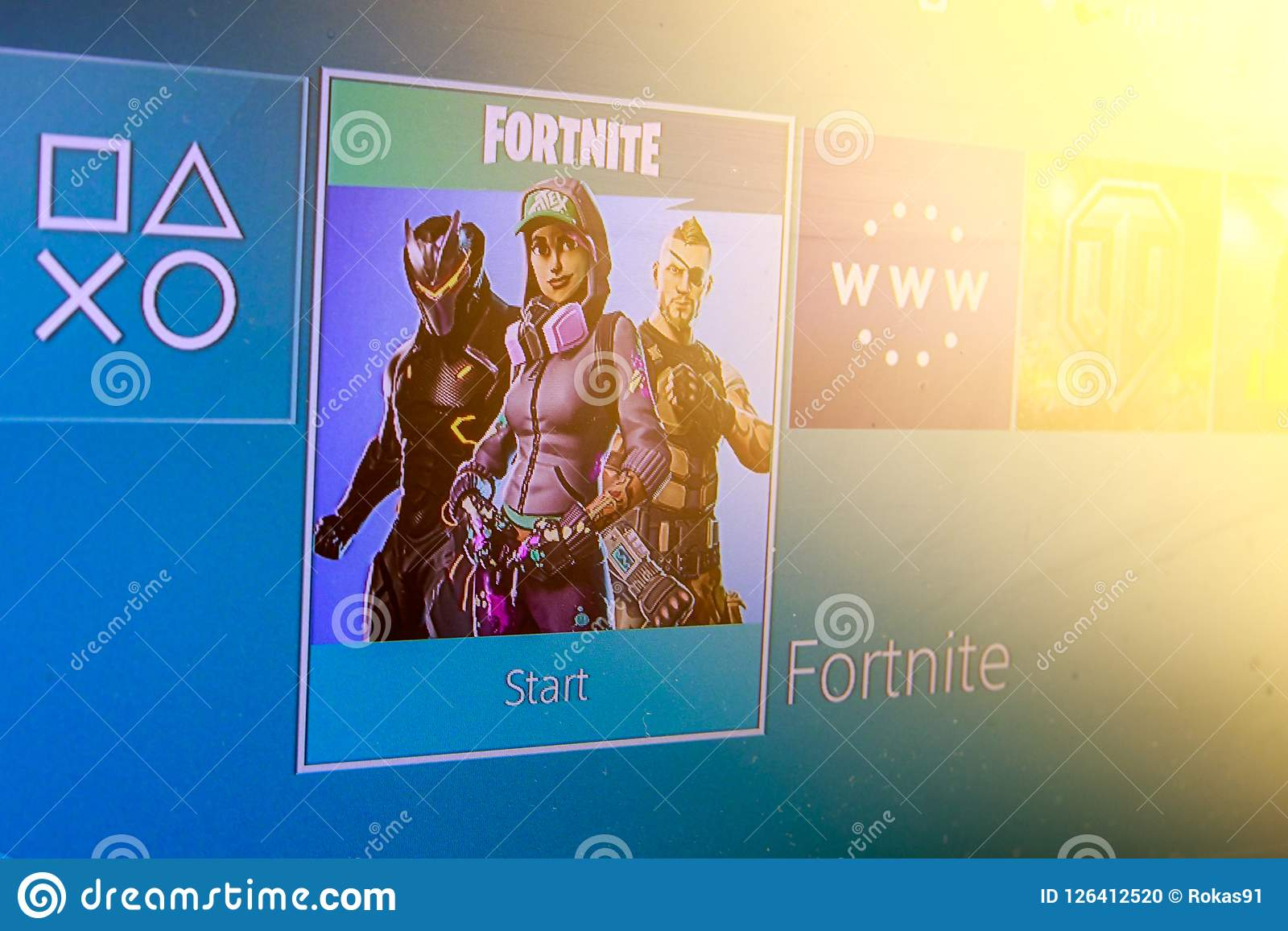 Fortnite Video Game And Playstation 4 Controller Editorial