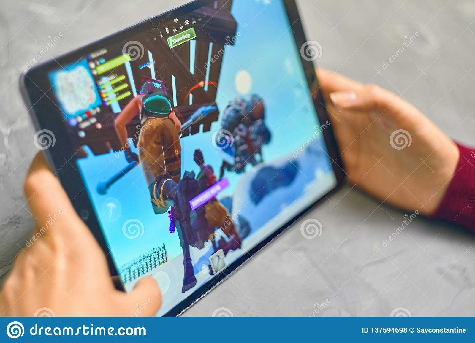 Fortnite Gameplay on ipad editorial stock photo  Image of