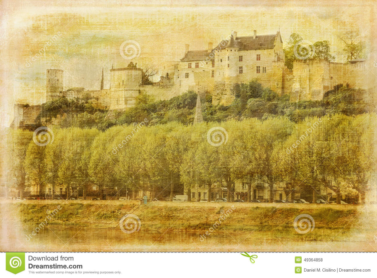 Chinon France  city pictures gallery : ... Fortress from the river Vienne. Chinon. France. Vintage style series