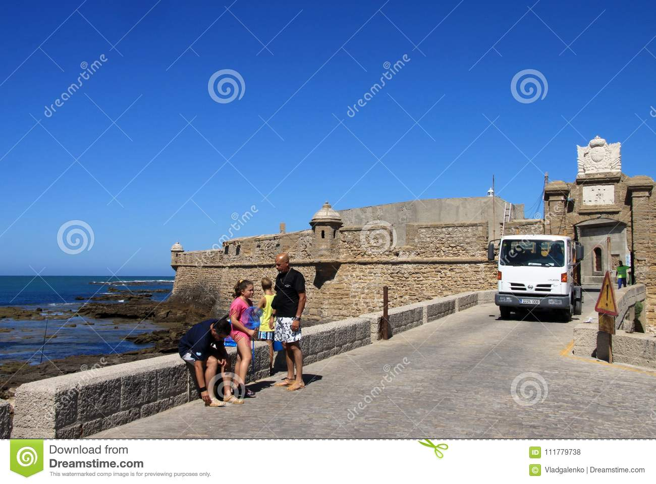 Fortress of San Sebastian on the shores of the ancient maritime city of Cadiz.