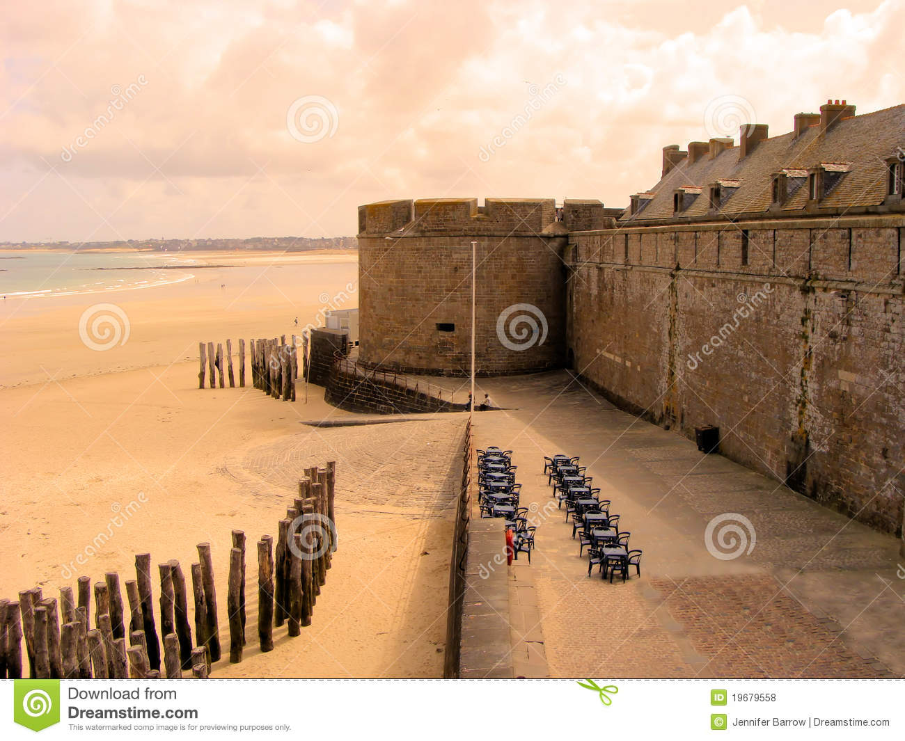 Sunset In Summer On The Beach And The City Of St Malo