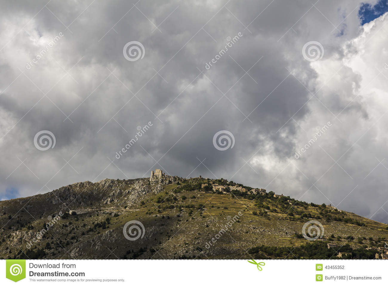 Fortress and village Calascio, Apennines, Italy