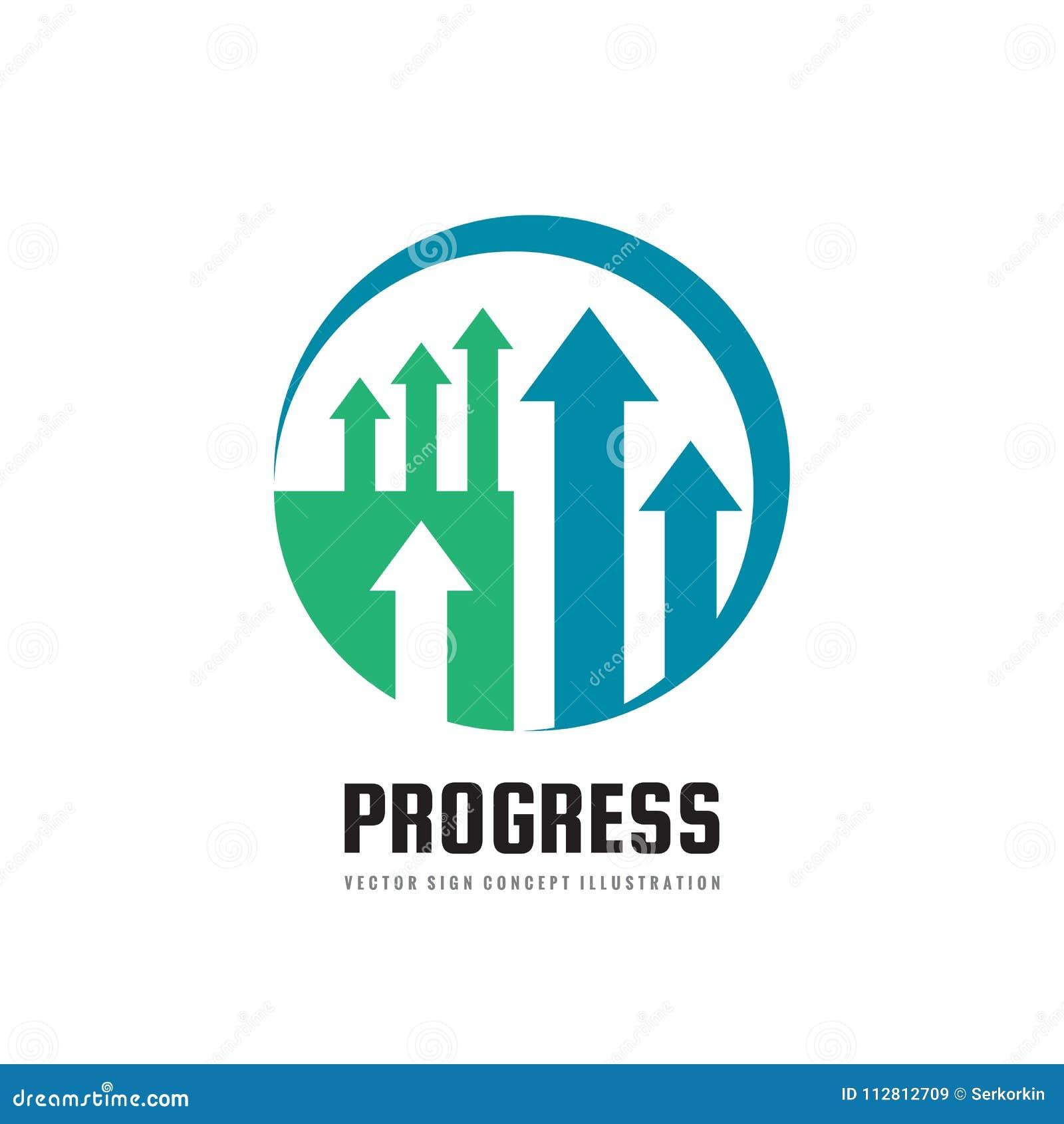 Fortschritt - Vektorgeschäftslogoschablonen-Konzeptillustration Abstraktes Pfeilsymbol Kreatives Zeichen der Devisenmarkttendenz