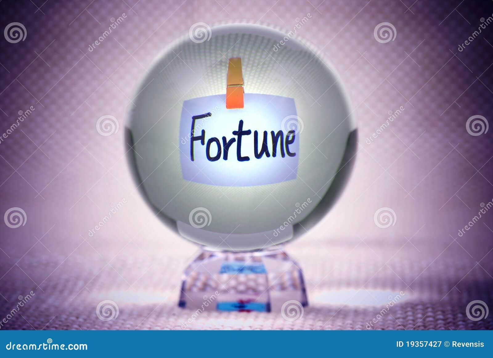 Fortuna, palavras na esfera de cristal mágica