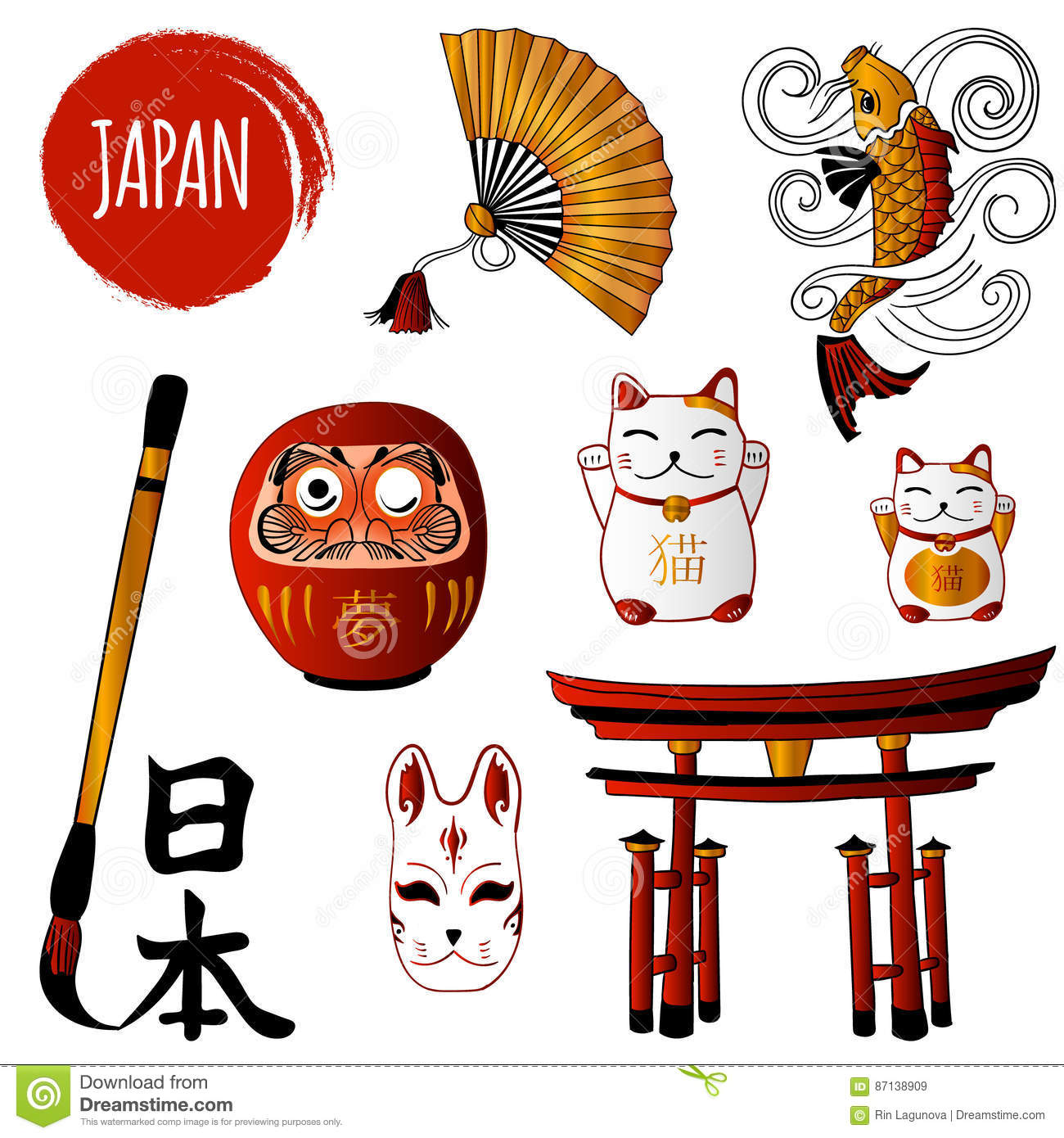 Fortune Cat And Different Japanese Objects Stock Vector