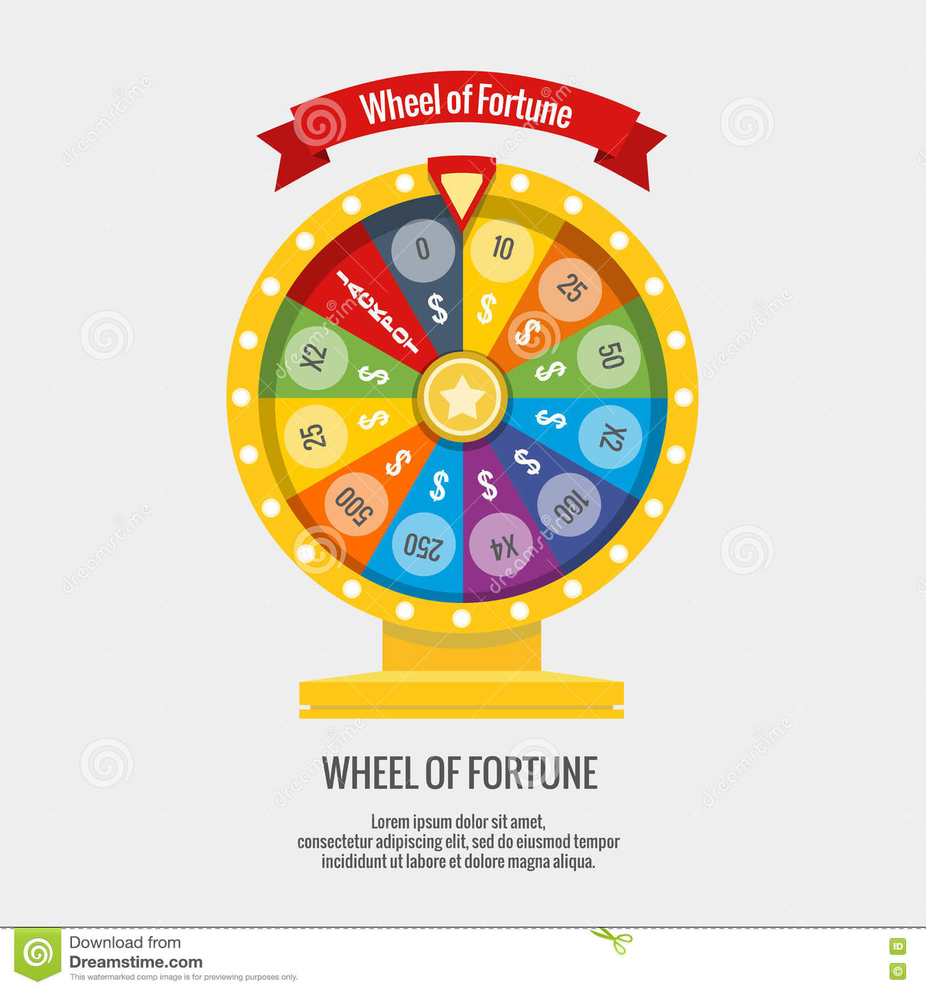 Fortune Spinning Wheel In Flat Vector Style. Gambling ...