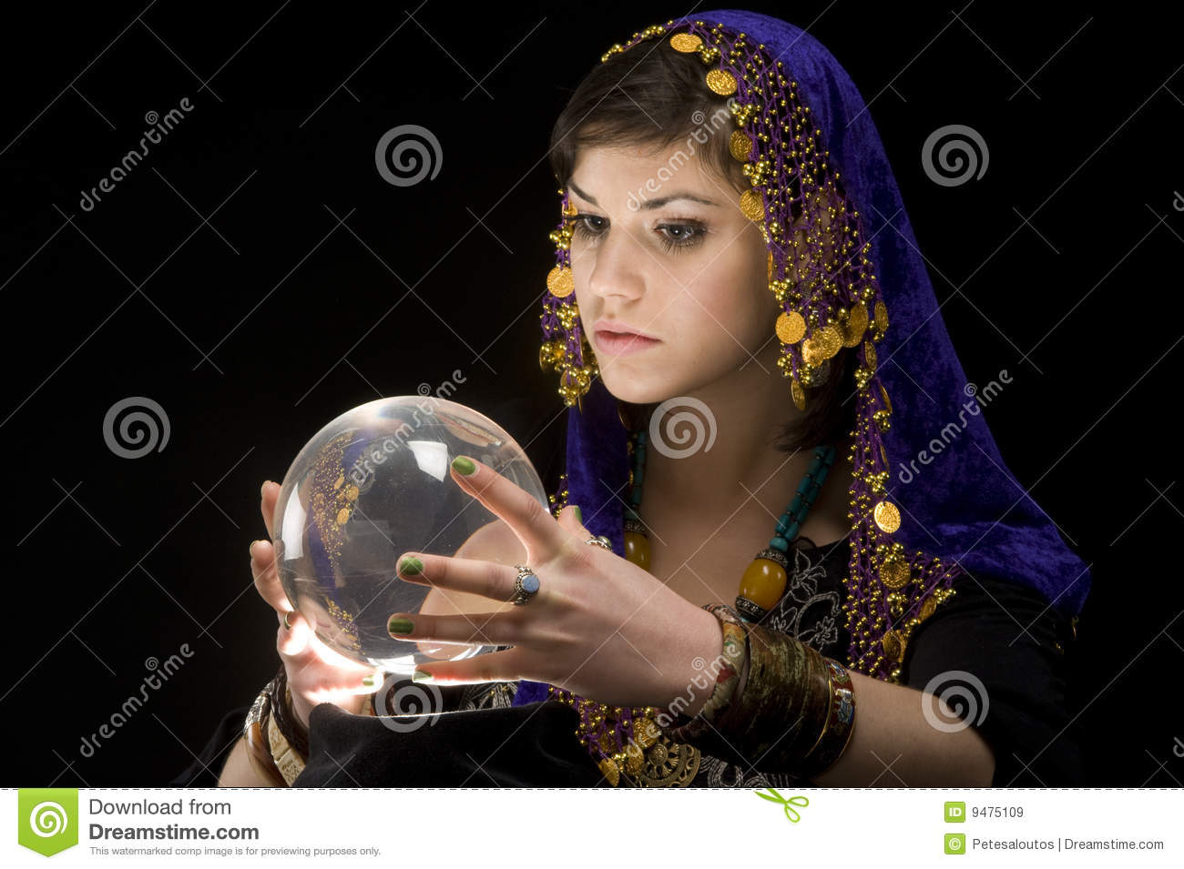 Fortune Teller With Crystal Ball Royalty Free Stock Images