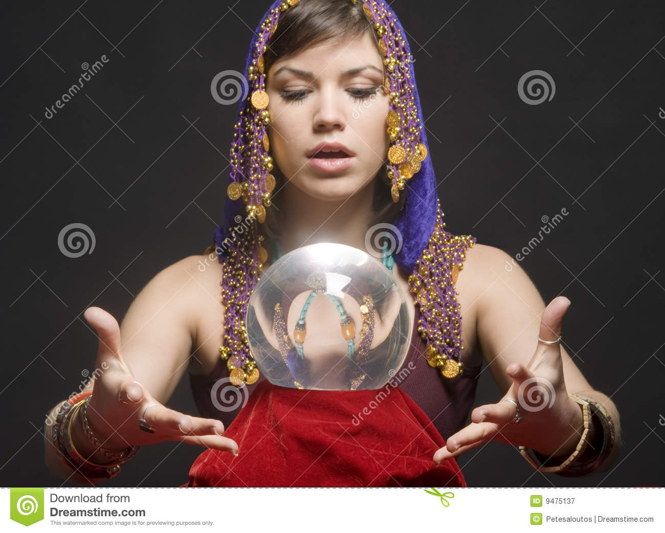 Fortune-teller With Crystal Ball Royalty Free Stock ... Crystal Ball Fortune Teller