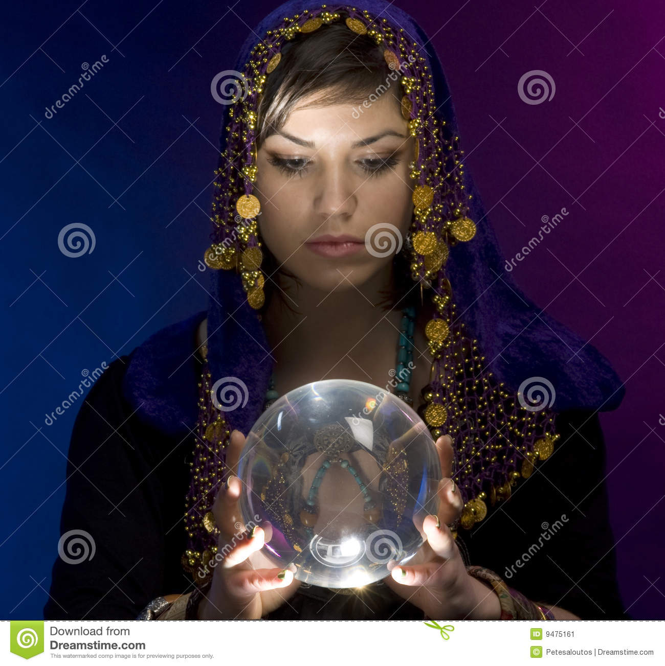 Fortune-teller With Crystal Ball Stock Image - Image: 9475161