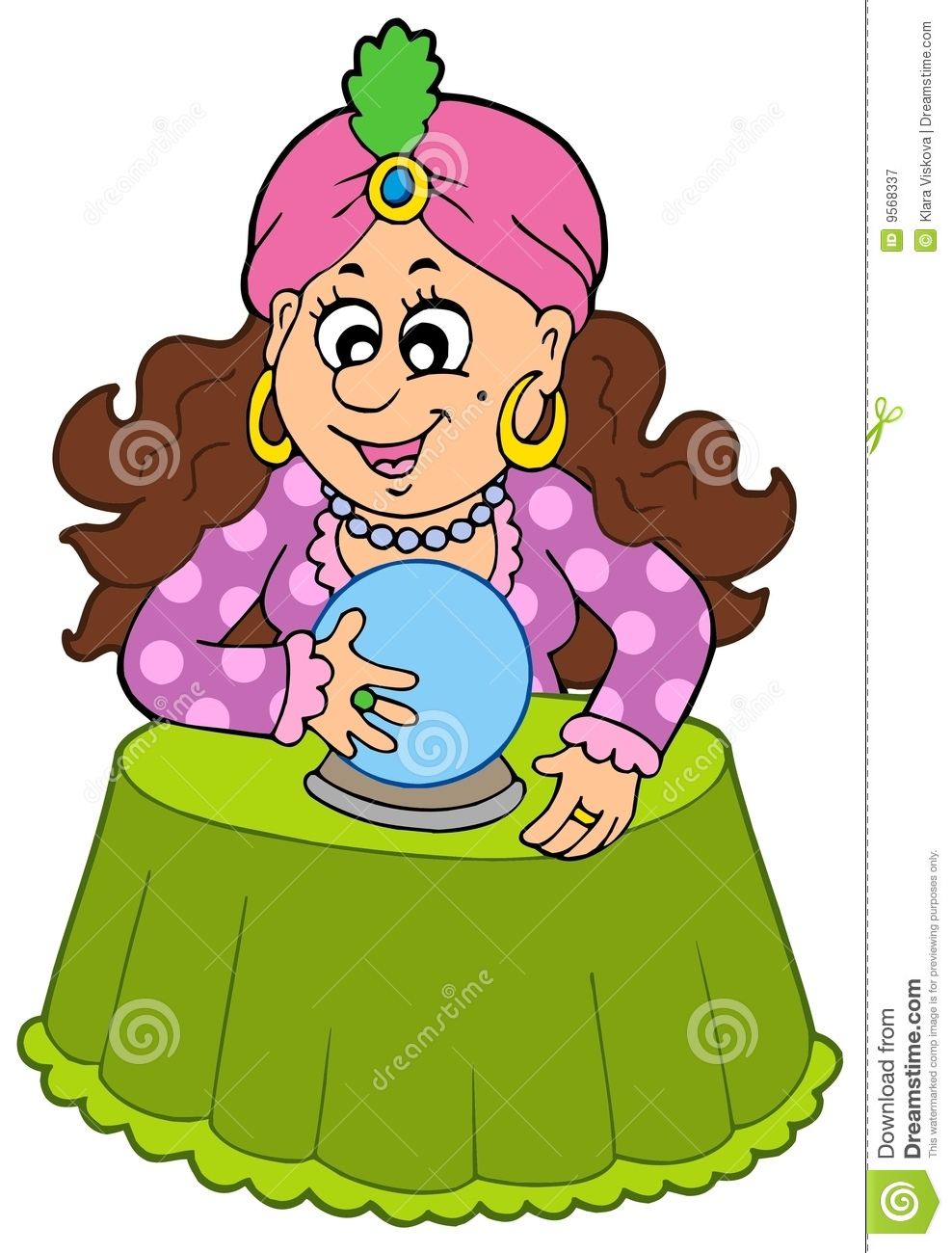 Fortune Teller With Crystal Ball Stock Vector Image 9568337