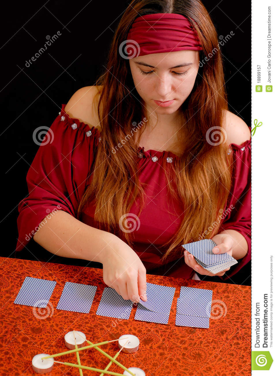 Fortune Teller Dealing Tarot Royalty Free Stock