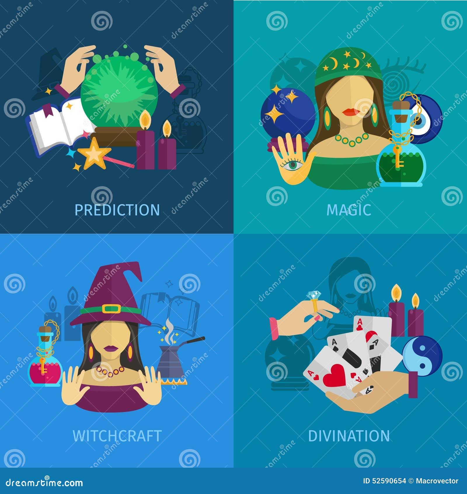 Designer Teller Set fortune teller icons set stock vector illustration of interface