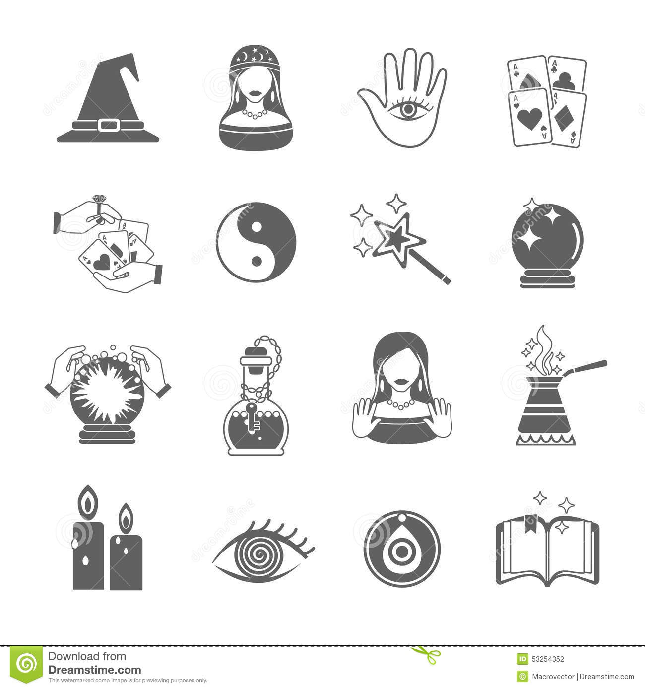fortune teller icon set stock vector image 53254352. Black Bedroom Furniture Sets. Home Design Ideas