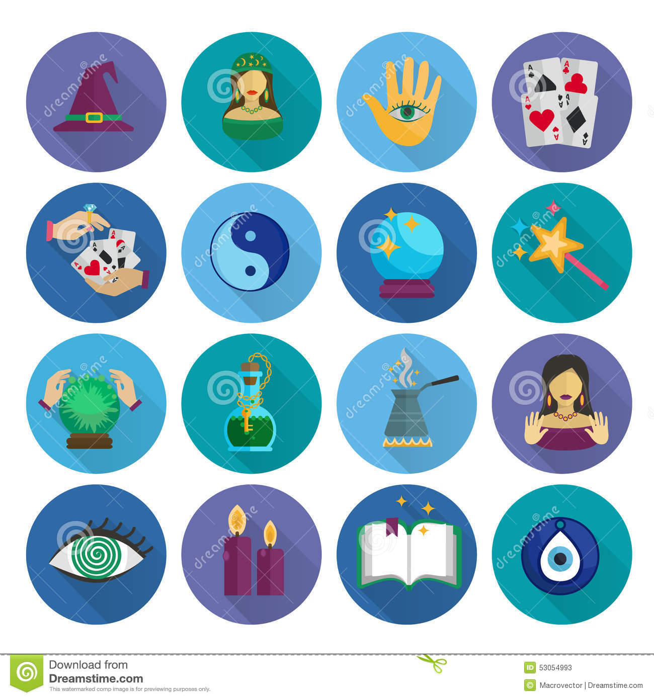 fortune teller icons flat stock vector image of fairy. Black Bedroom Furniture Sets. Home Design Ideas